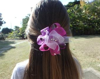 Purple Princess hair bow headpiece