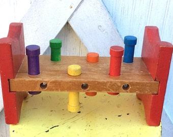 Vintage Antique Estate 1960's Wood Playskool Pounding Bench Toy Wooden Multi Color