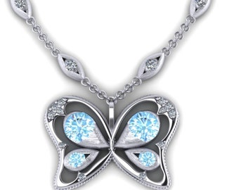 Silver Butterfly Pendant(Blue)