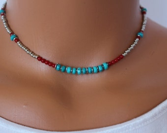 turquoise choker, turquoise and coral necklace, womens beaded choker, turquoise necklace, boho chic beaded choker, boho syle necklace