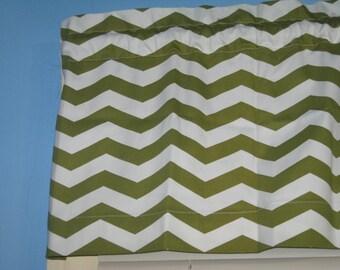 "53""x14"" Handmade HOME DECOR Green White  Window Curtain  Valance"