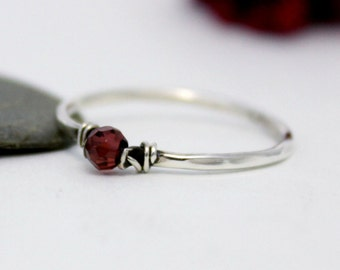 Cute Garnet Simple Silver Ring, Statement Ring, Stackable Simple Ring, Red Gemstone Ring, Stacking Ring, Silver Ring