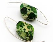 Bright Green Variscite on Silver