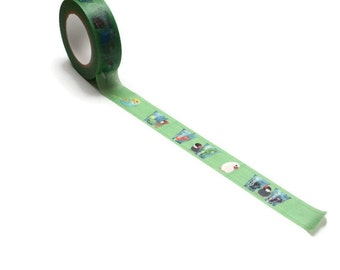 WASHISAMPLE cute washi with birds playing. Green sample with different birds