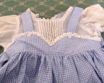 Vintage Blue Checked Doll Romper