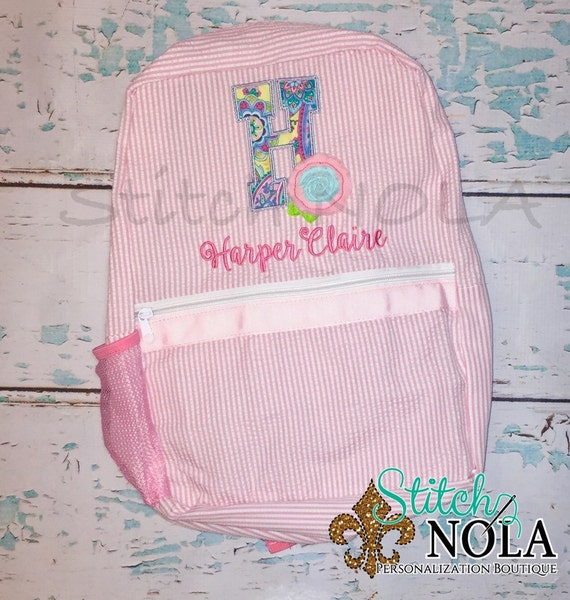 Seersucker Backpack with Shabby Rose Applique, Seersucker Diaper Bag, Seersucker School Bag, Seersucker Bag, Diaper Bag, School Bag, Book Ba