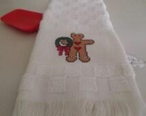 Cross Stitch Christmas Gingerbread Boy Kitchen Towel