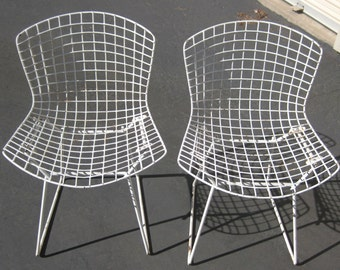 Harry Bertoia 3 Original Vintage 420 Side Chairs For Knoll Eames Era Wire Sculptured Chairs