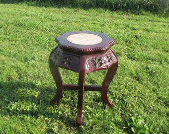 Vintage Carved Wood Marble Top Rosewood Plant Stand Round Side Table Hobnails