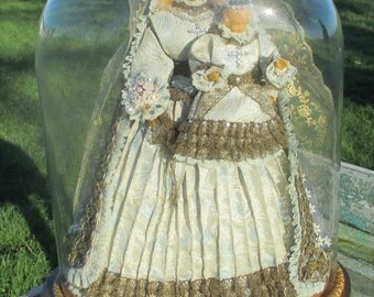 Antique Victorian Dome Globe Stunning Virgin Mary Child Wax Luxurious WOW