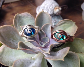 Wire Wrapped Nacre/Abalone All Seeing Eye rings