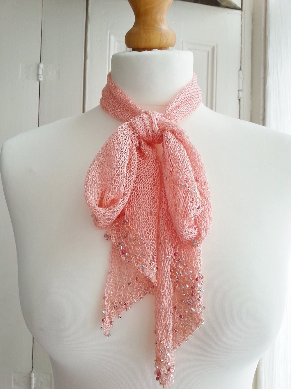 Zelda Scarf Knitting Pattern : Knitting pattern for beaded bias knitted evening scarf that