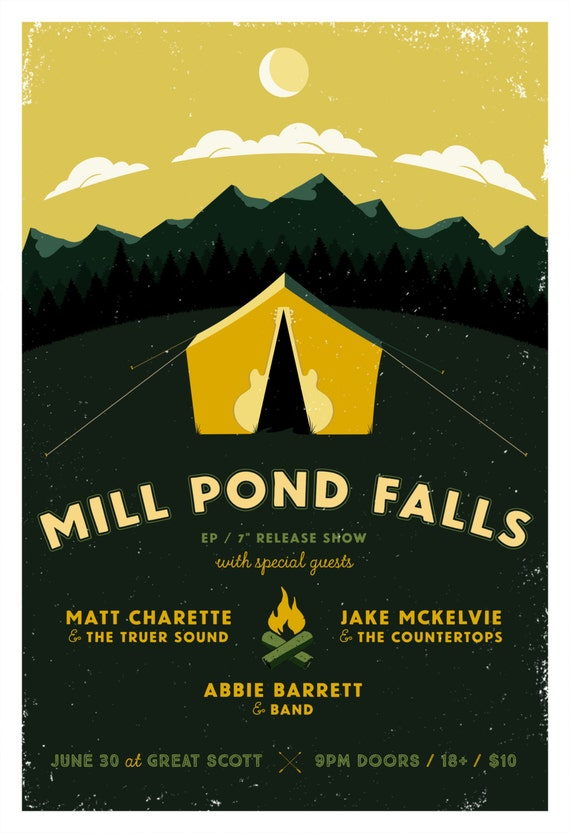 Mill Pond Falls Gig Poster // Great Scott, Allston