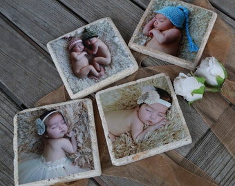 8 Personalized Photo Coasters. Travertine Stone Coasters with Cork Backing. Photo Tiles. Great Gift Idea.
