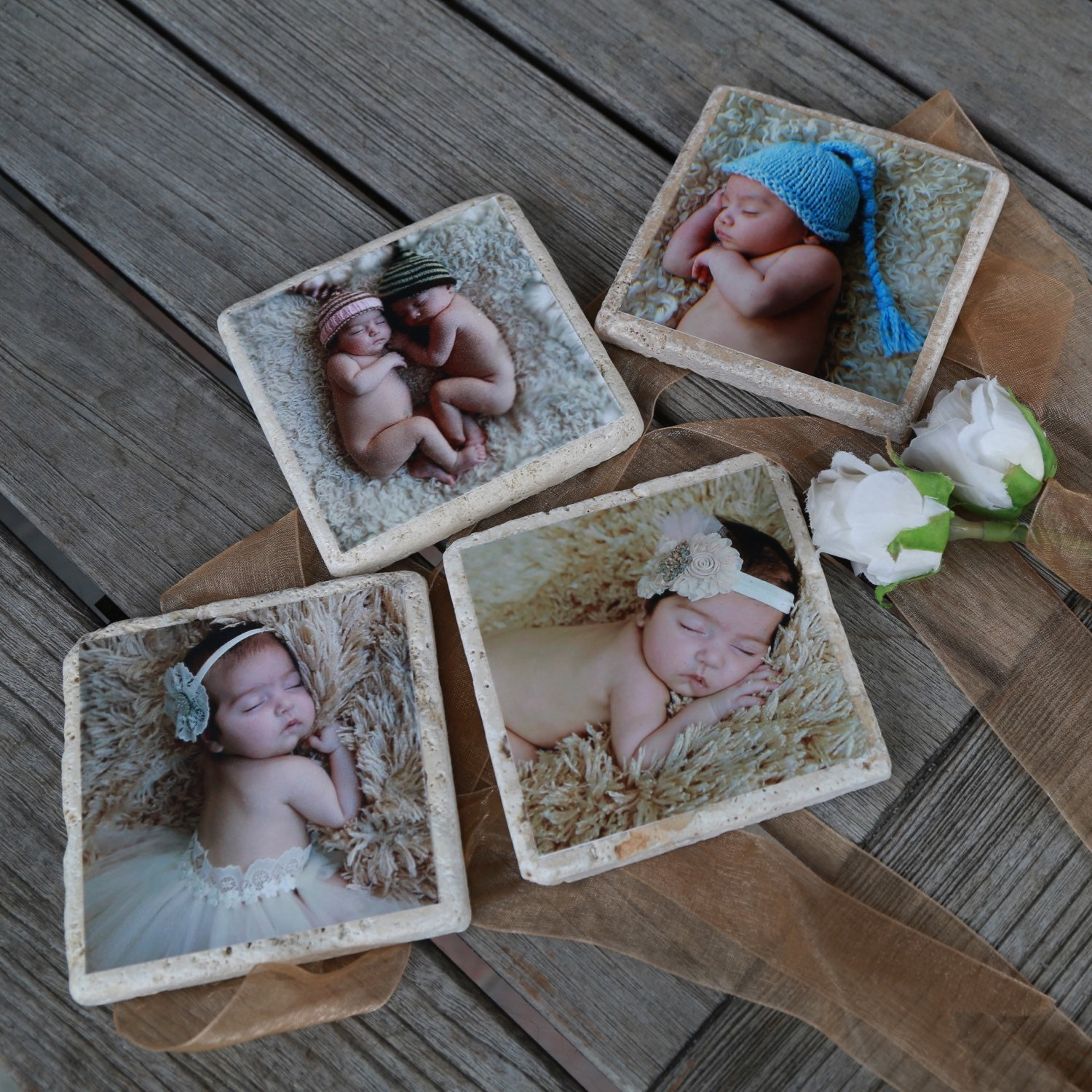 8 Personalized Photo Coasters Travertine Stone Coasters With