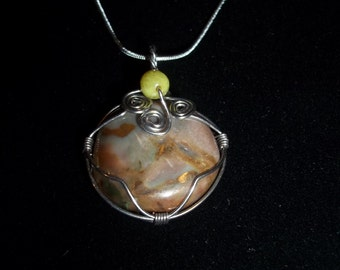 NOW priced at 50% off!!! Necklace ,Pendant, Jasper/agate wire wrapped in silver colored wire #a3