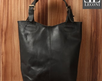 LECONI-LAN bag of shopper bag leather bag lady bag soft leather vintage look black LE0033-wax