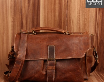 LECONI small shoulder bag shoulder bag ladies gentlemen Used leather look Brown LE3023-wax-N