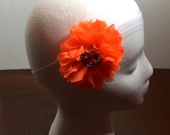 Orange Flower, Orange Headband, Orange Flower Headband, Bling Headband, Stretch Headband, 6 Months Up To 24 Months