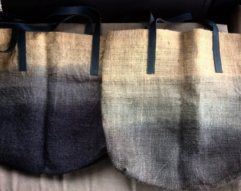 X Large Ombre hand dyed burlap and leather tote