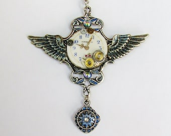 Steampunk Winged Vintage Watch Dial & Gears Pendant Necklace PN55