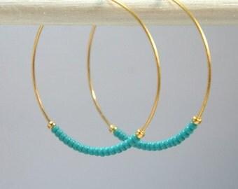 Beaded Hoops,Turquoise Seed Bead Hoop Earrings, Gold Earrings, Hoop Earrings, Small-Medium-Large Hoops-You Pick the Size