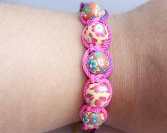 pastel bracelet, spring bracelets, Easter, summer, beaded bracelet, pink bracelet, colorful jewelry, flower, adjustable, summer jewelry,