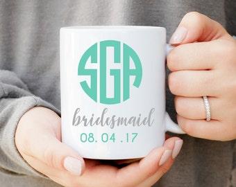 Monogram Bridesmaid Mug, Wedding Party Favors, Bridesmaid Gift, Will You Be My Bridesmaid, Bridal Party Favors, Custom Initial Cup