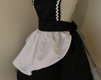 Retro French Maid 50s Waitress Apron  Black White Satin Sissy Pinup Pin Up Large L Halloween Costume
