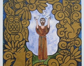 """Saint Francis of Assisi - Brother Sun and Sister Moon -  Print of an original watercolor painting in gold - 11"""" x 14"""""""