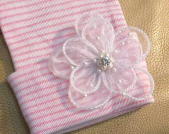 Newborn Hospital Hat w/ Ivory Organza Flower Applique w/Pearl bead and Rhinestone. Hospital Beanie. Pink and White Stripe Newborn Hats.