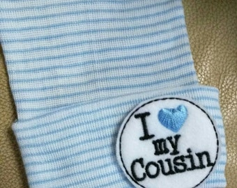 Newborn Beanie Hat. I Love my Cousin! Choice of Hat Colors. Super Cute. Newborn Hospital Hat. Baby's 1st Keepsake. Announce PREGNANCY!