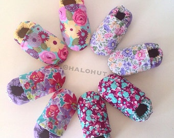 Floral Genuine Leather Soft Sole Baby Shoes Moccs