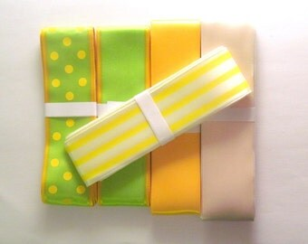 Spring brights ribbon pack: 5 bundles of 3 metres each of different satin ribbons. Supply for sewing, scrapbook, craft, gift wrapping RP2