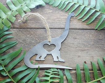 Apatosaurus Long Neck Dinosaur Love Rustic Metal Recycled Steel Heart Christmas Tree Ornament Holiday Gift Industrial Decor
