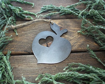Peach Christmas Ornament Rustic Metal Christmas Tree Ornament Holiday Gift Industrial Decor Wedding Favor By BE Creations