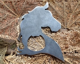 Horse Head Rustic Steel Recycled Metal Industrial Bottle Opener, Travel Gift, wedding favor, Party gift, beer opener