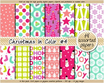 SALE christmas digital paper holiday digital paper snowman penguin santa mistletoe star stocking gift clipart in pink blue green purple