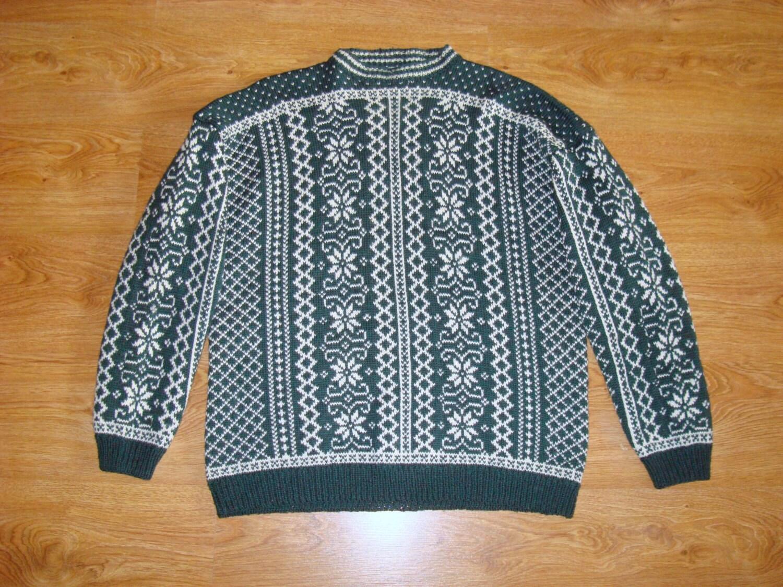 Nordic sweater Norwegian pattern ski sweater size XL vintage