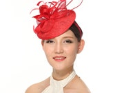 Kentucky Derby Feather Floral Sinamay with Lace and Feathers Headband Fascinator Hat Cocktail Red