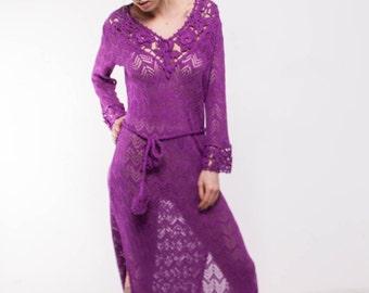 Maxi Crochet Dress,Knitted Maxi mauve Dress, Maxi Beach Lacy Dress, Handmade pink Dress, Viscose Summer Long dress.Vintage beachwear Dress