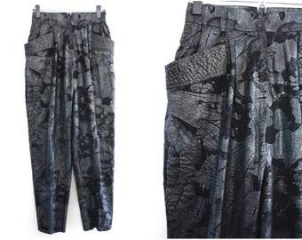 Vintage Black High Waisted Cotton Pants with Metallic Floral and Leaf Print