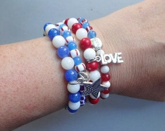 4 July jewelry -Patriotic jewelry -multi color stretch bracelets - gift for her