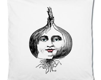 Layers Of An Onion Vintage Face Vegetable Illustration Line Art Graphic White Cotton Cushion Cover Pillowcase. 40 x 40 cm.