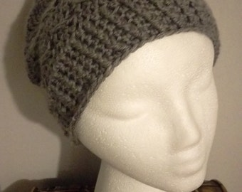 Gray Slouch Hat with Criss Cross Pattern