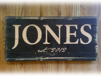 Custom Personalized Family Name Sign, Distressed Natural Wood Plaque Rustic Home Decor - Great Gift Idea