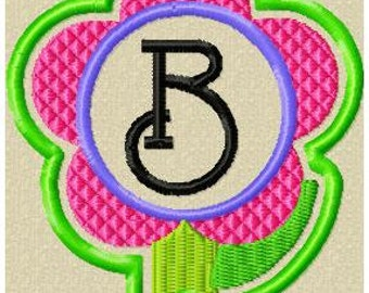Machine Embroidery Design - Flower Zipper Pull, Bag Tag