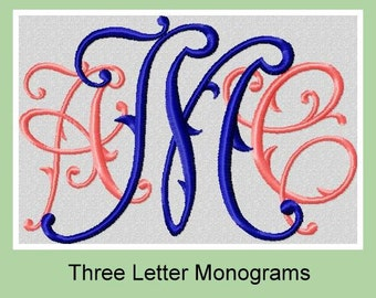 Victorian monogram Font - comes in 2,3,4 inch sizes  Machine Embroidery Font -