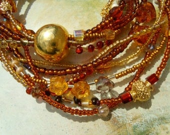FESTIVE! Necklace Vortex chain gold ceramic of Japanese seed beads TOHOs