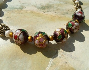 Snow white jade beads cloisonne beads necklace chain